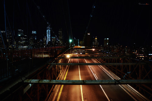 new york city brooklyn bridge at night fuhrmann art